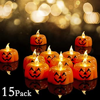 15pcs Powered Realistic OrangeTea Lights Flameless LED Lights Fake Electric Mini Bright Small for Halloween Christmas Outdoor Home Theme Parties Decor Battery Tealights Pumpkin Operated Candles