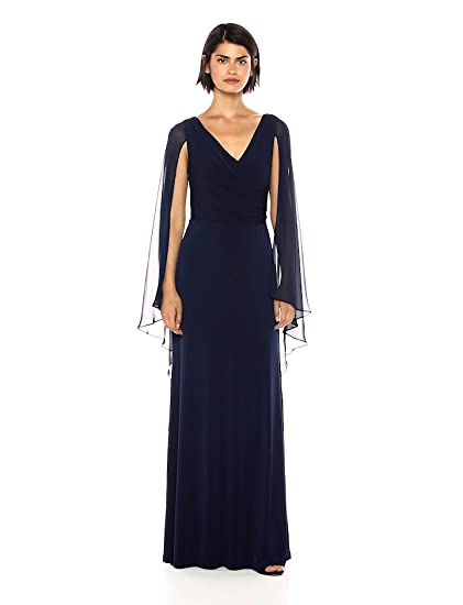 575a62e2c4fa6 Calvin Klein Women s Cross Front V Neck Gown with Chiffon Caplet at ...