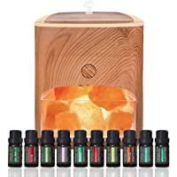 Himalayan Pink Salt Diffuser & 10 Essential Oils – 2-in-1 Therapeutic Device - Aromatherapy & Ionic Himalayan Salt…