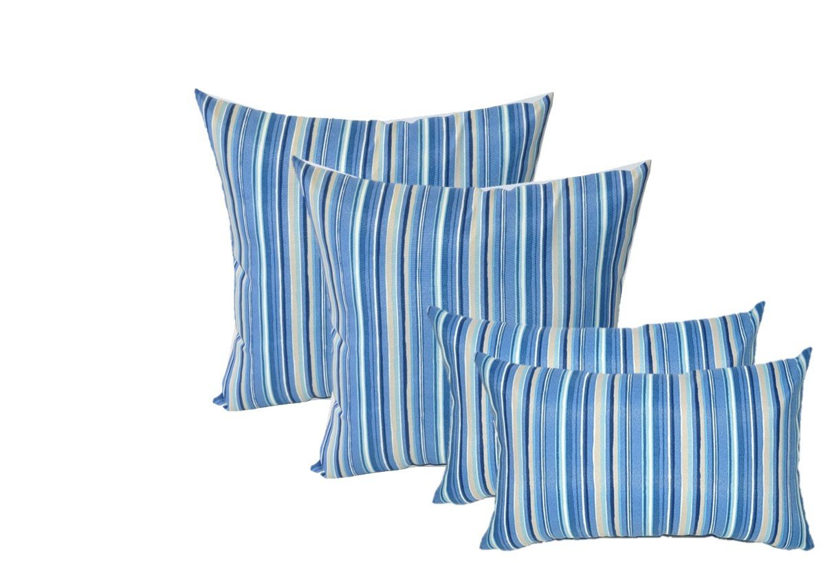 Set of 4 Indoor / Outdoor Pillows - 17'' Square Throw Pillows & Rectangle / Lumbar Decorative Throw Pillows - Sapphire Blue, Tan, White Stripe