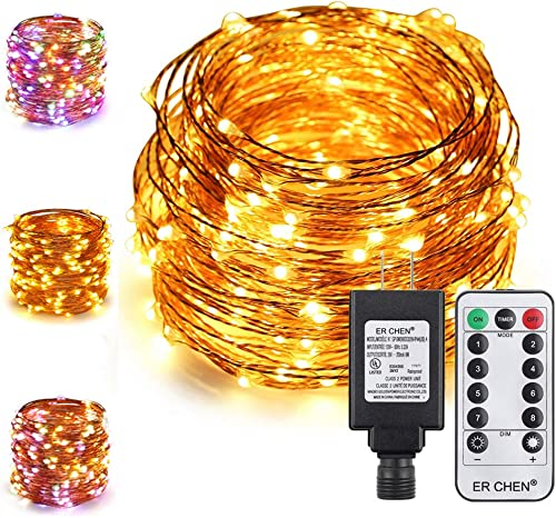 ER CHEN Color Changing Fairy Lights Plug in, 72ft 200 LED Copper Wire Dimmable String Lights 8 Modes Decorative Lights with Remote Timer for Bedroom, Patio, Garden, Yard Warm White Multicolor