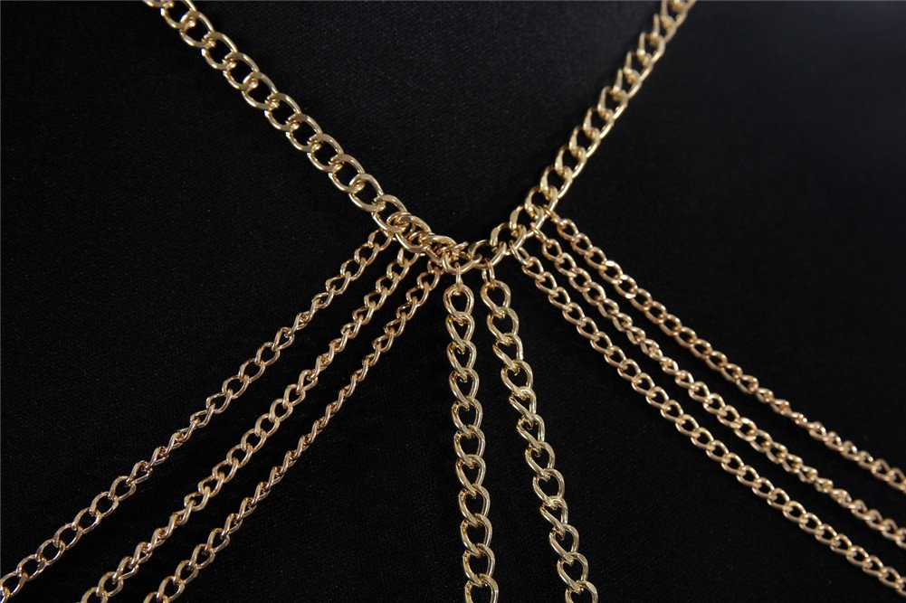 SIYWINA Multi-tassel Necklace Body Chain Gold Lace Chain Body Chain Bikini Summer by SIYWINA (Image #2)