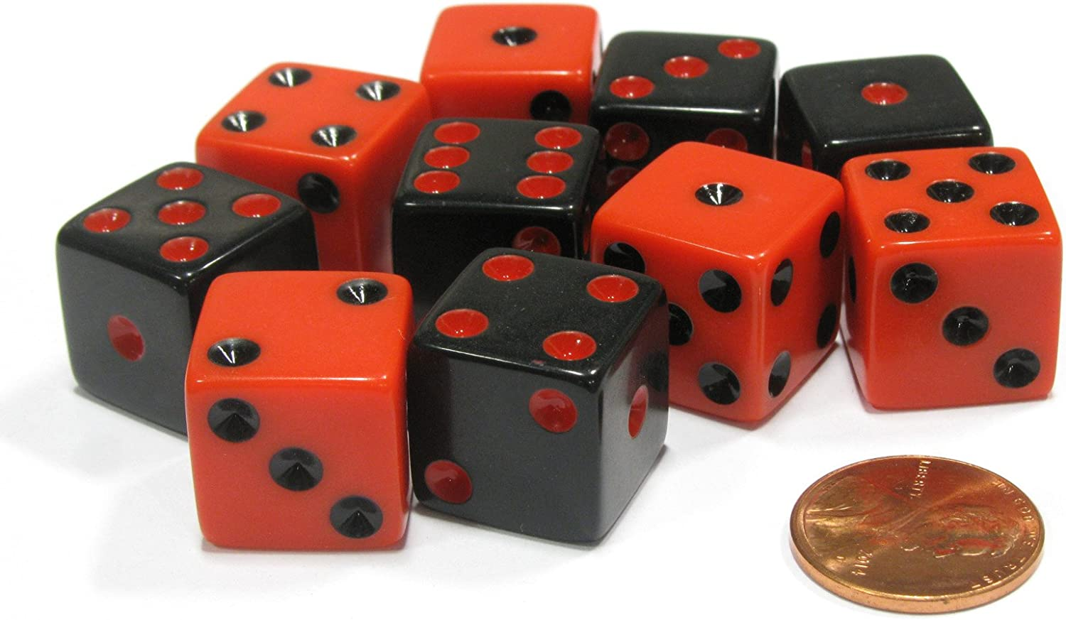 Black with Red Pip Die Set of 10 Six Sided Square Opaque 16mm D6 Dice