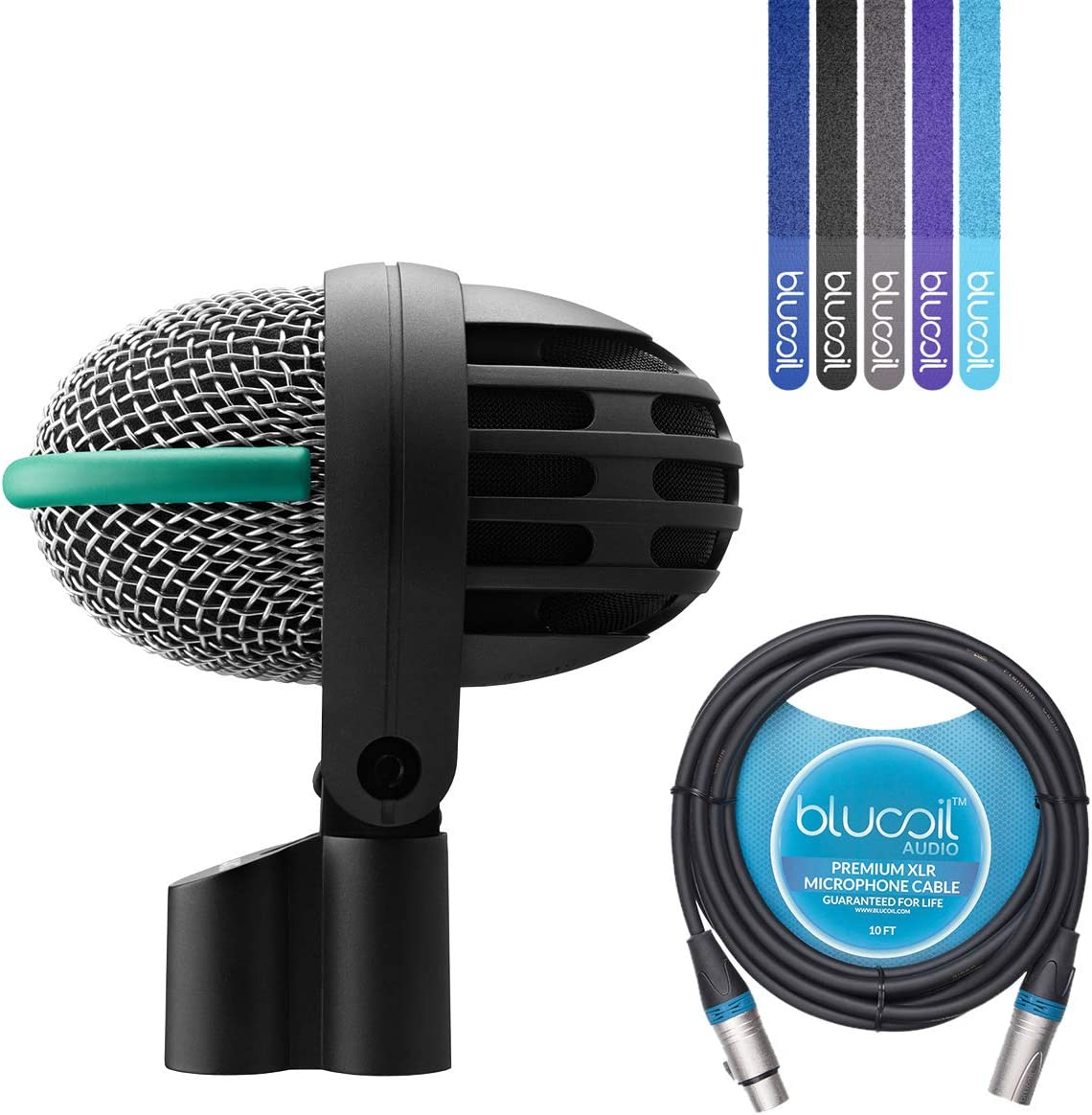 AKG D112 MKII Dynamic Microphone for Bass Drums Bundle with Blucoil 10-FT Balanced XLR Cable, and 5-Pack of Reusable Cable Ties: Home Audio & Theater