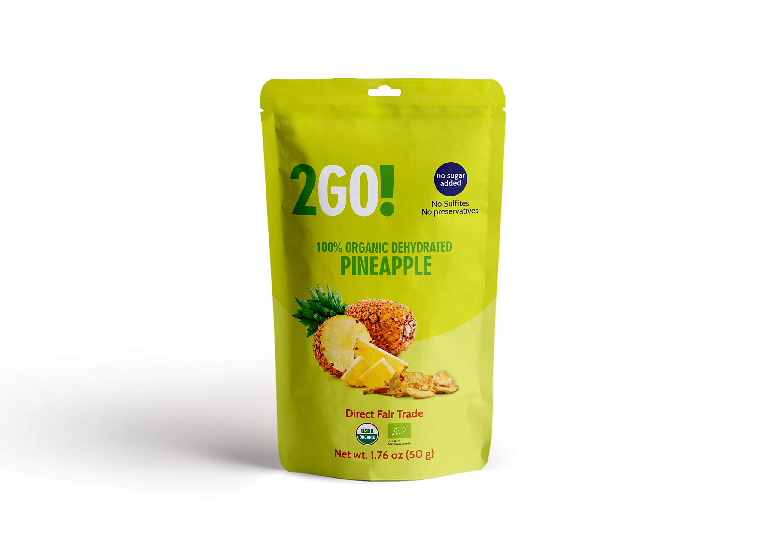 2Go! Organic, Dried Pineapple Slices - 1.76 oz (Pack of 6) - No Sugar Added - All-Natural Pineapples - Raw - Direct Fair Trade Fruit - from Colombia by 2GO!