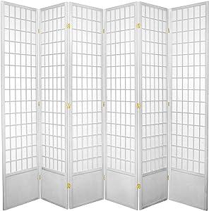 Oriental Furniture 7 ft. Tall Window Pane Shoji Screen - White - 6 Panels