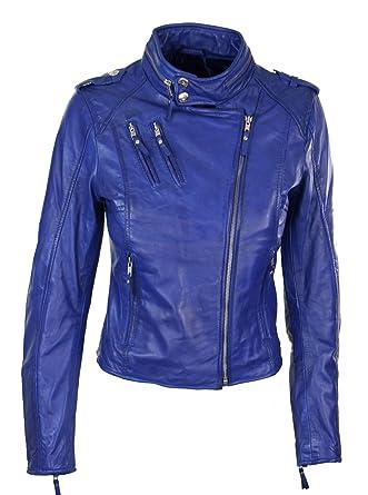 Veste cuir bleu electrique homme
