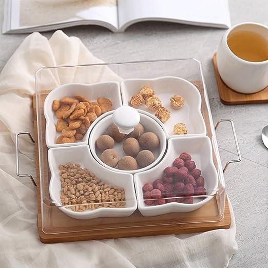 Amazon Com European Style Ceramic Nuts Fruit Plate Sub Grid Dry