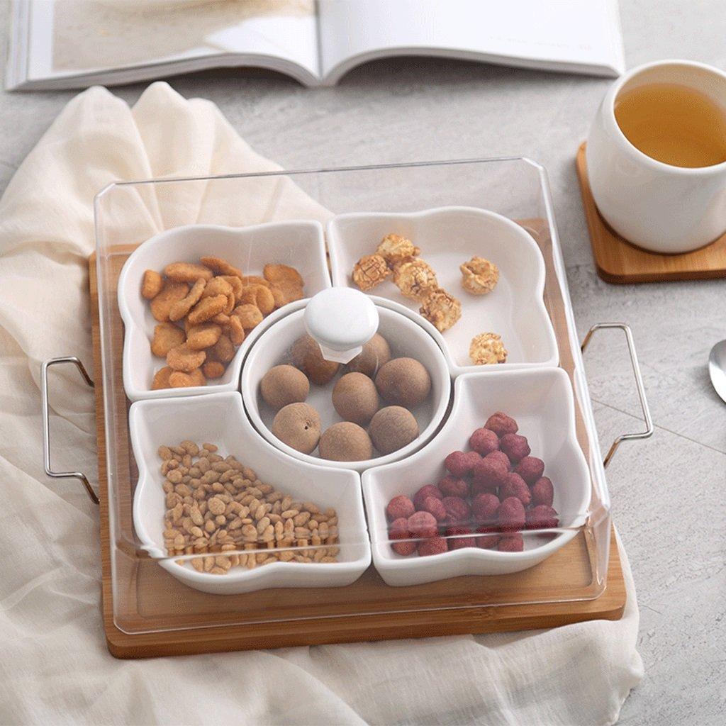 European Style Ceramic Nuts Fruit Plate Sub-grid Dry Fruit Platter Blooming Pinellia
