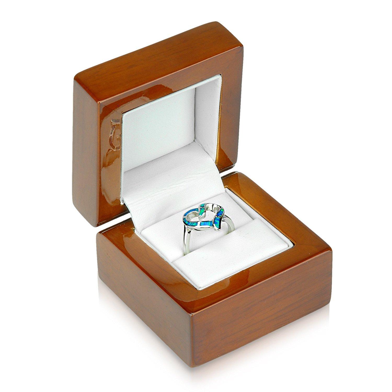 Geff House Walnut Wood Ring Jewelry Gift Box ERB-1
