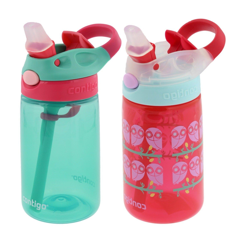 Contigo Kids Autospout Gizmo Water Bottle, 14oz (Persian Green/Ruby Owl Eyes) - 2 Pack