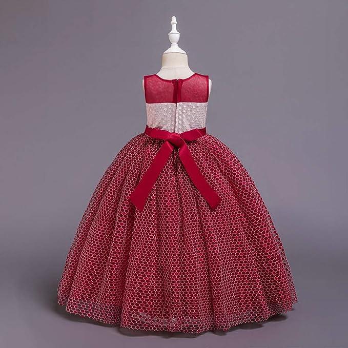 WFRAU elegancka sukienka księżniczka dla dziewcząt, bez rękawÓw, okrągły dekolt, na ślub, dla druhny, dla niemowląt, z kwiatowym haftem, tutu, sukienka dla dziecka, patchwork, karn
