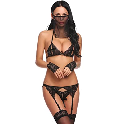 Acecor Women Lace Patchwork Sexy Spaghetti Strap Chemise G-String Lingerie Pajamas Set Bodysuit Nightwear Outfit(S-XXL)