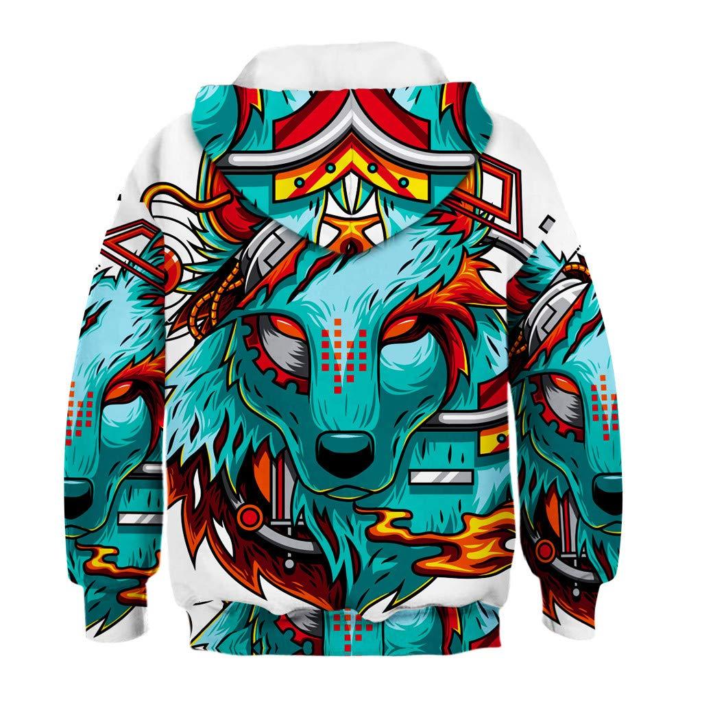 Zerototens Boys Sweatshirt,4-11 Years Old Boys Girls 3D Cartoon Print Pullover Hooded Tops Boy Tracksuit Tops Kids Outwear
