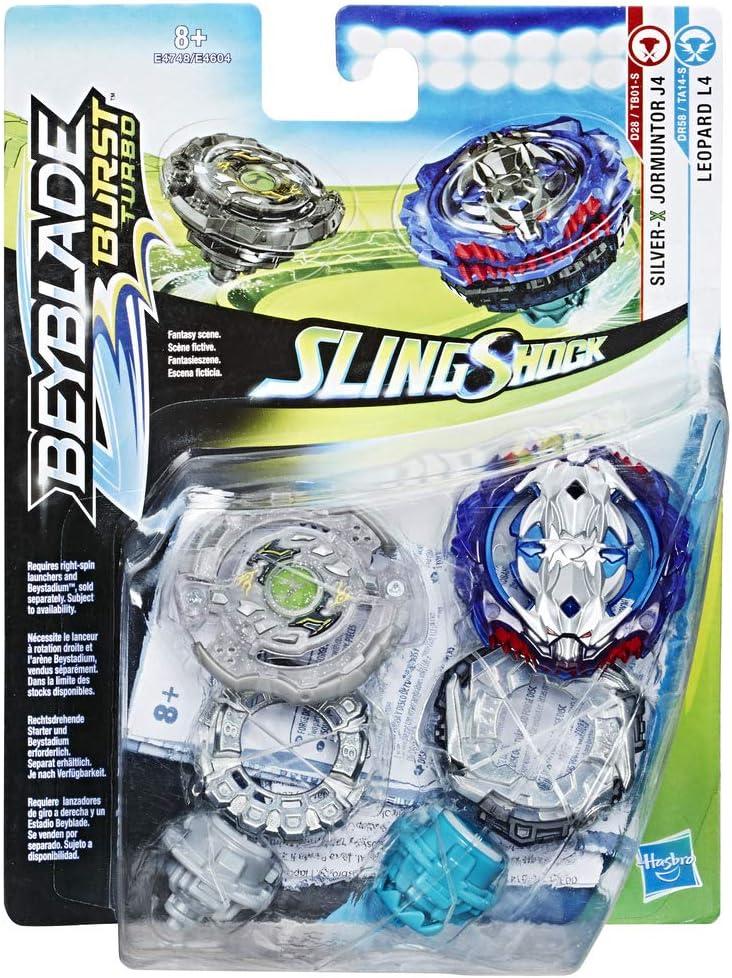 Beyblade Burst Turbo Sling Shock - Peonzas Silver X Jormuntor J4 y Leopard L4, sin Lanzador