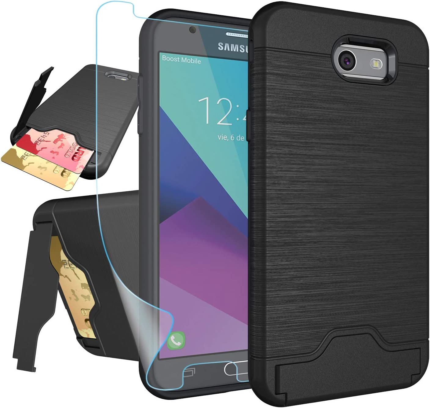Galaxy J7 V 2017/ J7 Perx/J7 Prime/J7 Sky Pro/Halo Case with HD Screen Protector,NiuBox[Card Slot Wallet][Kickstand] Full Body Shock Absorption Protective Phone Case for Samsung J7V 2017-Black