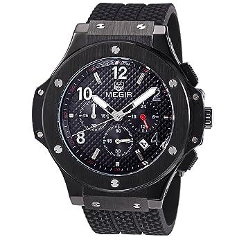 e4839e44ae8 Megir Mens Watches Silicone Chronograph Military Quartz Black Wrist Watch  Luminous Relogio Masculino …