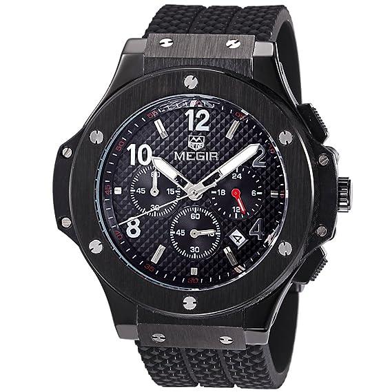 MEGIR Relojes Moderno Hombre Grande de cuarzo, negro silicona banda, cronógrafo y resistente al agua: Amazon.es: Relojes