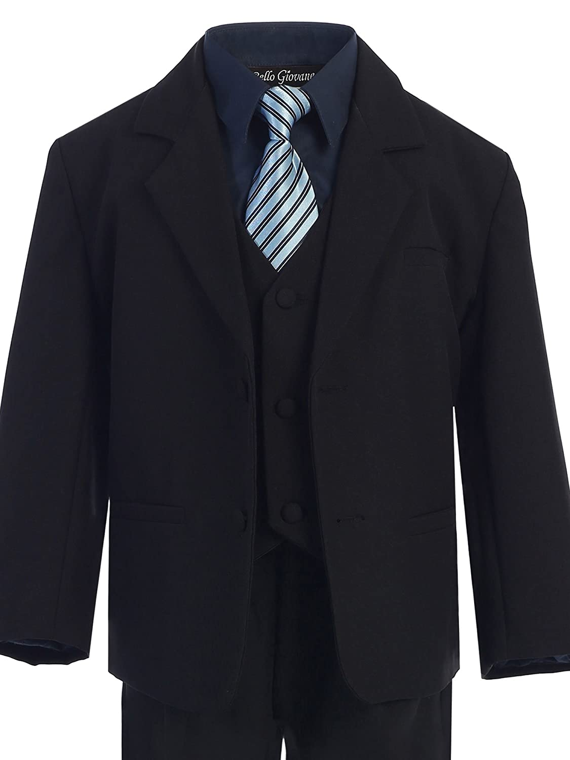 Bello Giovane Boys Black Formal Dress Suit Set with Colored Shirt
