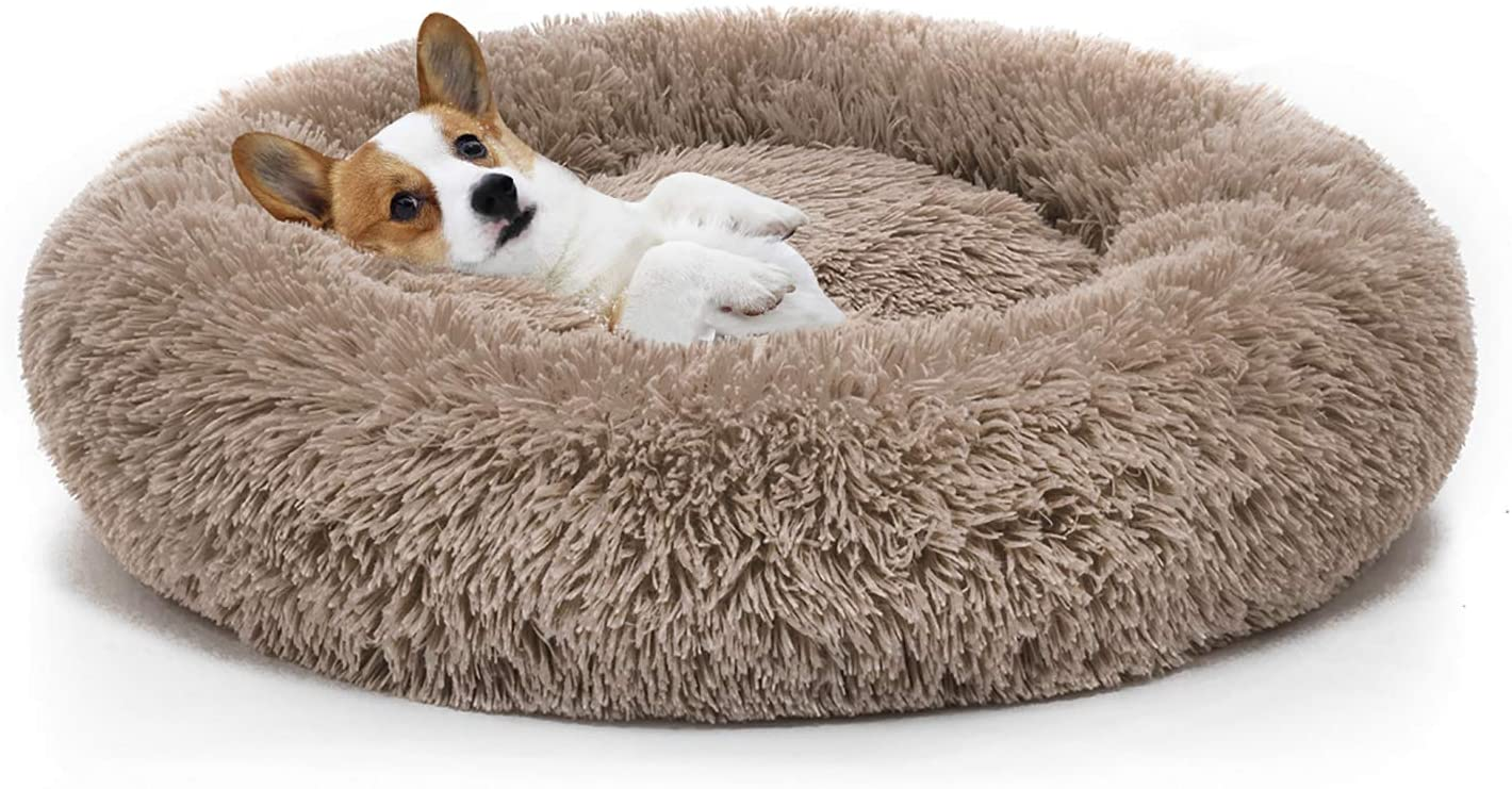 Mixjoy Orthopedic Dog Bed Comfortable Donut Cuddler Round Dog Bed Ultra Soft Washable Dog And Cat Cushion Bed 23 X23 Brown Pet Supplies