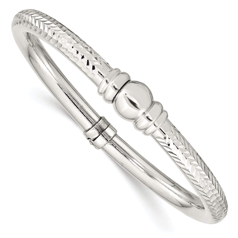 925 Sterling Silver Polished /& Textured Hinged Bangle Bracelet
