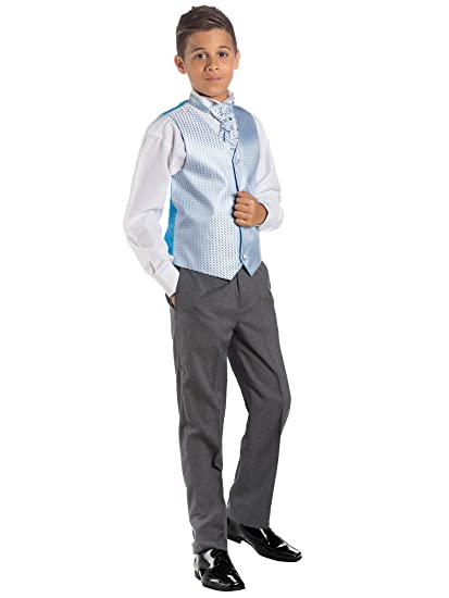 Paisley of London, Niño En Azul & Gris Traje, Traje Ceremonia Niño, Chaleco De Vestir, 3 meses - 14 años