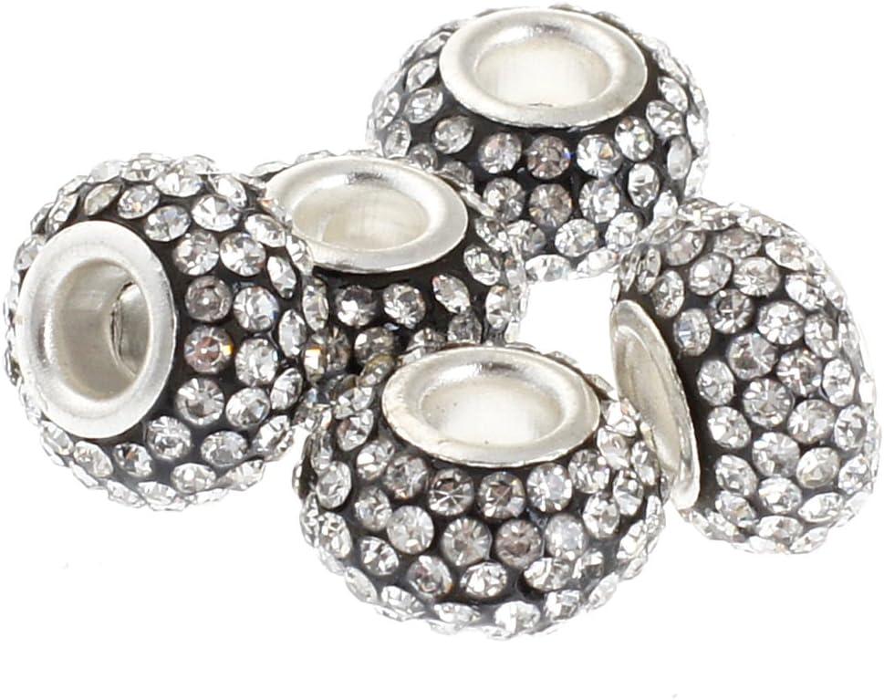 Rubyca Charms de 11/mm /à gros trou orn/és de cristaux pour bracelet europ/éen /à charms 05 PCS rose