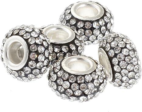 10pcs Czech Crystal Rhinestone Clay Silver Big Hole Spacer European Charm Beads