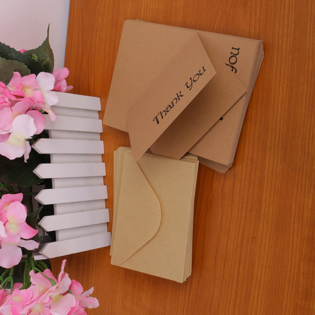 B Blesiya Package of 100 Kraft Paper Recycled Wedding Banquets Thank You Cards with Envelopes