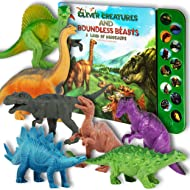 """Li'l Gen Dinosaur Toys for Boys and Girls 3 Years Old & Up – Realistic Looking 7"""" Dinosaurs, Pack of 12 Animal Dinosaur Figures with Dinosaur Sound Book (Dinosaur Set with Sound Book)"""