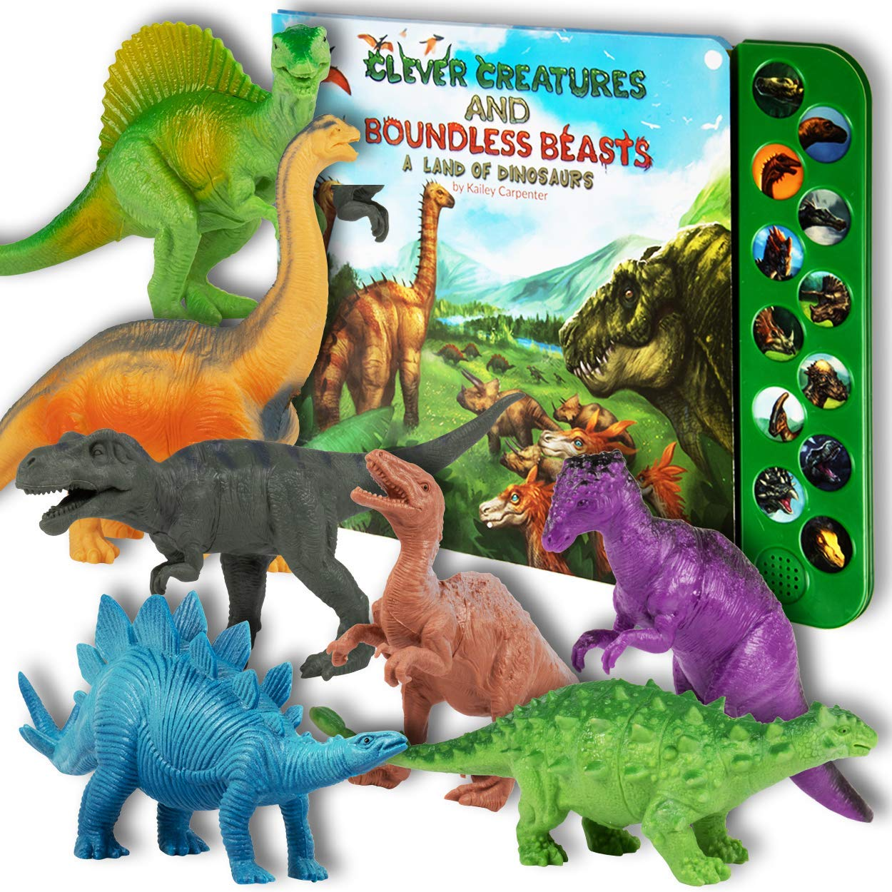 Li'l Gen Dinosaur Toys for Boys and Girls 3 Years Old & Up - Realistic Looking 7'' Dinosaurs, Pack of 12 Animal Dinosaur Figures with Dinosaur Sound Book (Dinosaur Set with Sound Book)