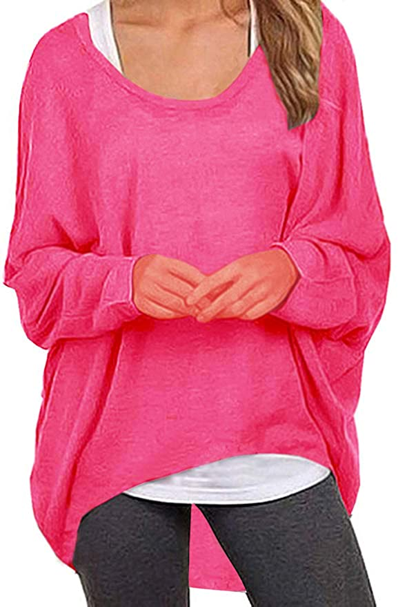 80s Sweatshirts and Sweaters UGET Womens Sweater Casual Oversized Baggy Off-Shoulder Shirts Batwing Sleeve Pullover Shirts Tops Asia XXL Rose Red $17.99 AT vintagedancer.com