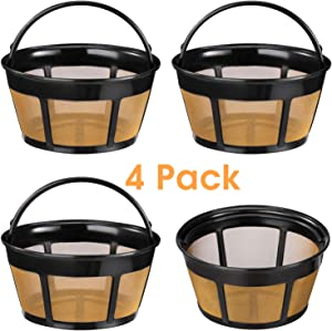 Reusable Coffee Filter, 4 Pack Basket Coffee Filters 8-12 Cup Replacement Coffee Filter with Stainless Steel Mesh Bottom for Mr. Coffee and Black & Decker Coffee Makers and Brewers
