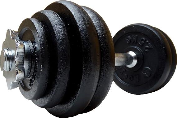 Hierro fundido BodyRip 30 kg mancuernas piezas 18 placas pesadas 35,56 cm bares y espinazos: Amazon.es: Deportes y aire libre