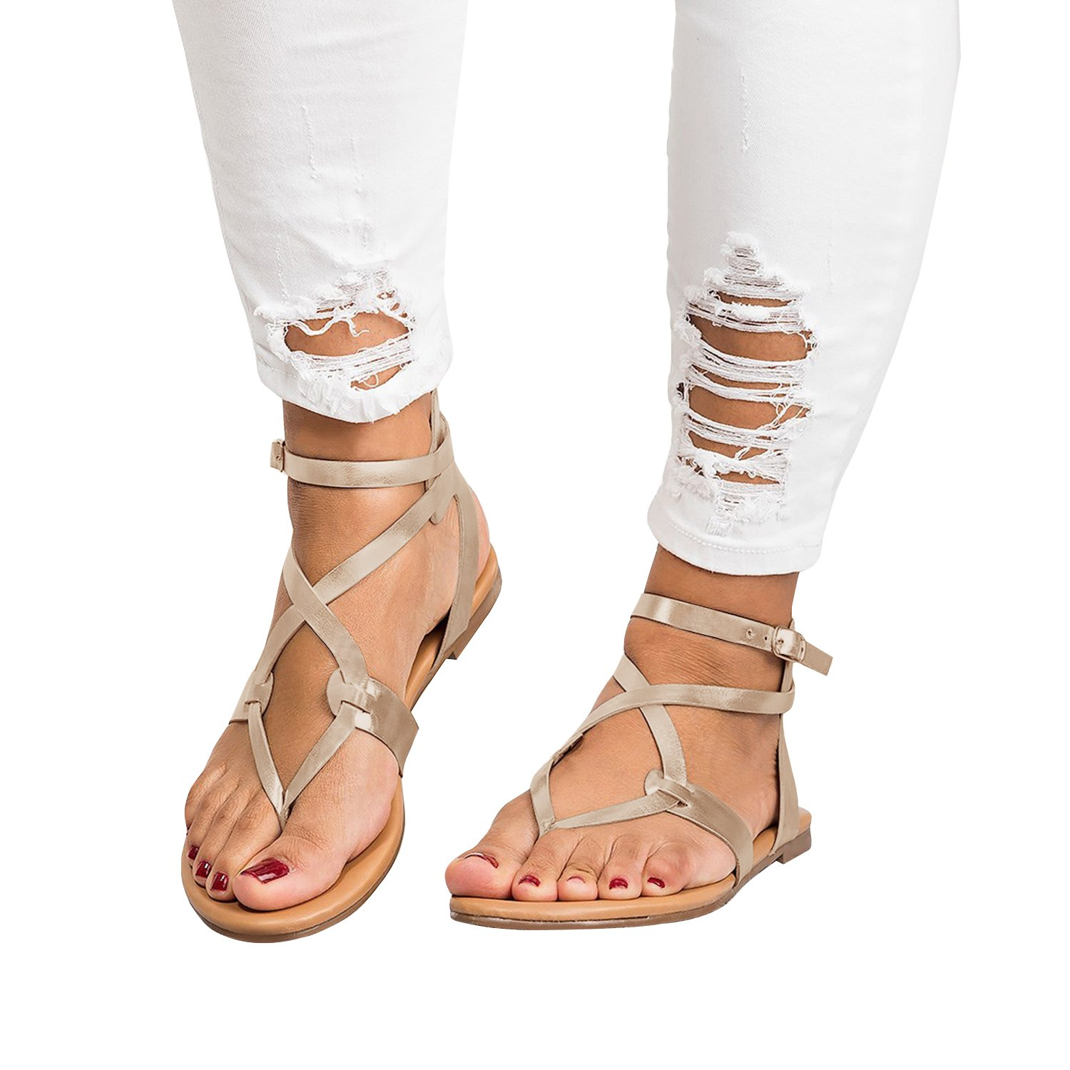 Ferbia Womens Summer Sandals Flat Ankle Buckle Criss Cross Gladiator Thong Flip Flop Casual shoes (10 B(M) US, Silvery)