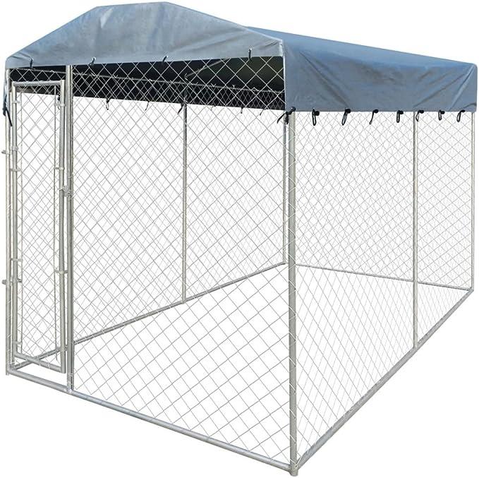 vidaXL Perrera de Exterior con Toldo Acero Galvanizado 4x2x2,4 m Jaula Perros: Amazon.es: Productos para mascotas