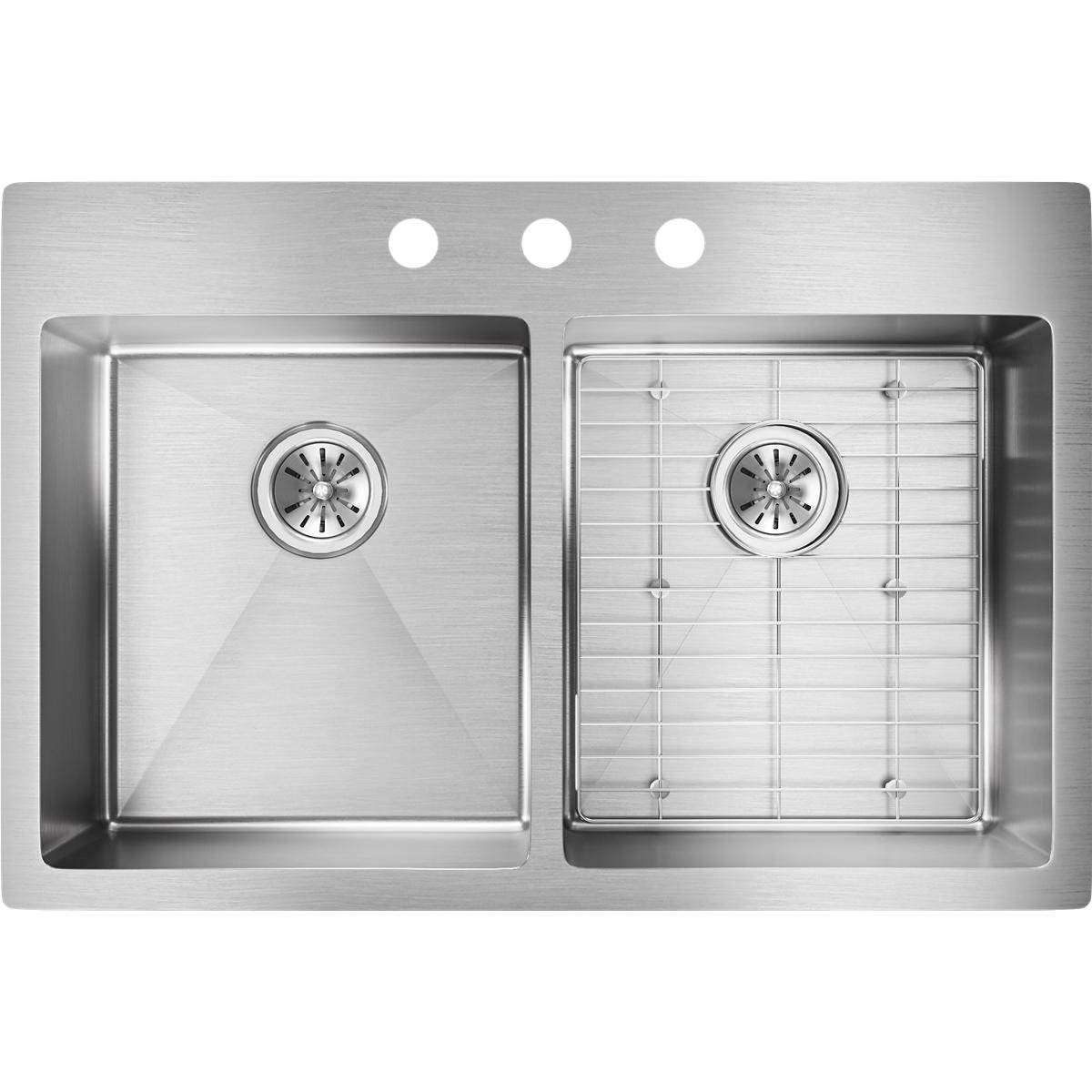 Elkay ECTSR33229TBG3 Crosstown Equal Double Bowl Dual Mount Stainless Steel Sink Kit