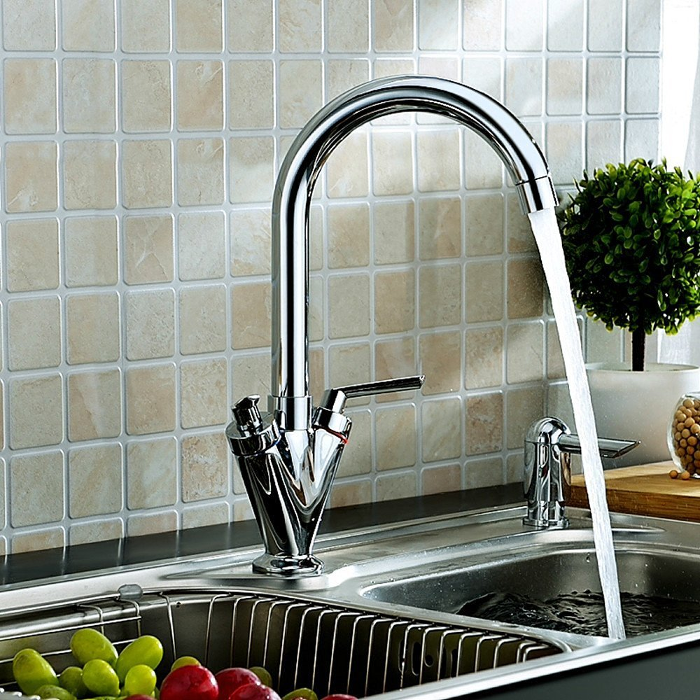 Luxury Polished Chrome Swivel Spout Kitchen Mixer Tap Modern Sink Monobloc Faucet Two Handles