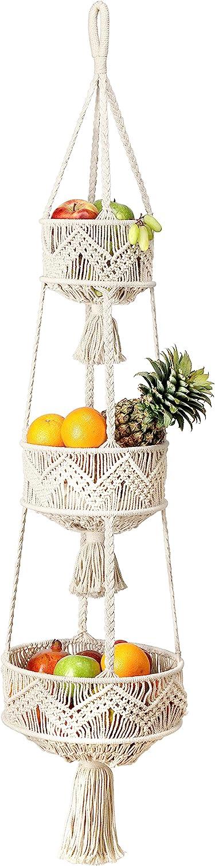 Folkulture 3 Tier Hanging Fruit Basket for Kitchen, Macrame Hanging Basket for Fruit and Vegetable Storage, Boho Wall Baskets for Organizing, Boho Decor for Indoor Plants, 46 Inches Long