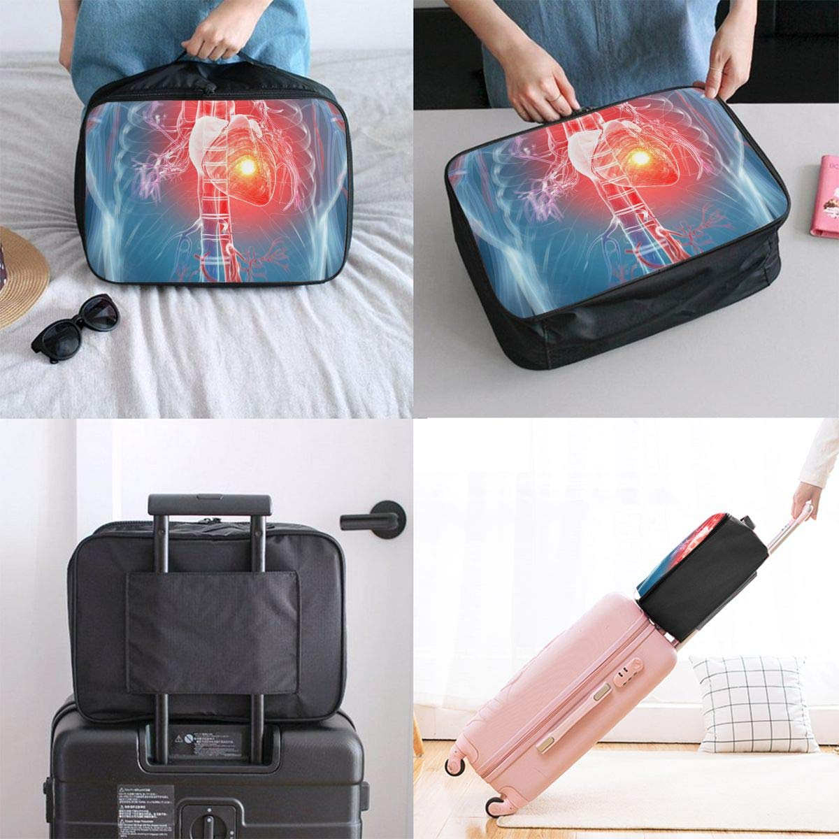 Travel Luggage Duffle Bag Lightweight Portable Handbag Heart Print Large Capacity Waterproof Foldable Storage Tote