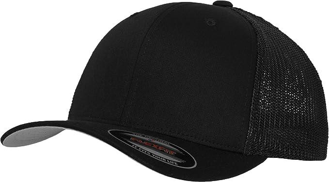 b55ec1aab523b5 6511 Flexfit Mesh Cotton Twill Trucker Cap (Black) at Amazon Men's ...