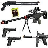 Dark Ops Airsoft Lot of 5 Airsoft Guns Sniper Rifle Shotgun Machine Pistols & 1000 6mm BB