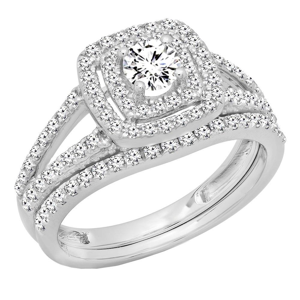 1.00 Carat (ctw) 10K White Gold Round Diamond Split Shank Halo Engagement Ring Set 1 CT (Size 6)