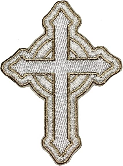 New Silver Trim Crosses IRON-ONS FABRIC APPLIQUES