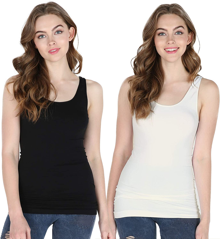 L, Black Basic Skinny Camisole For Women Seamless Spaghetti Strap Cami Tank Top