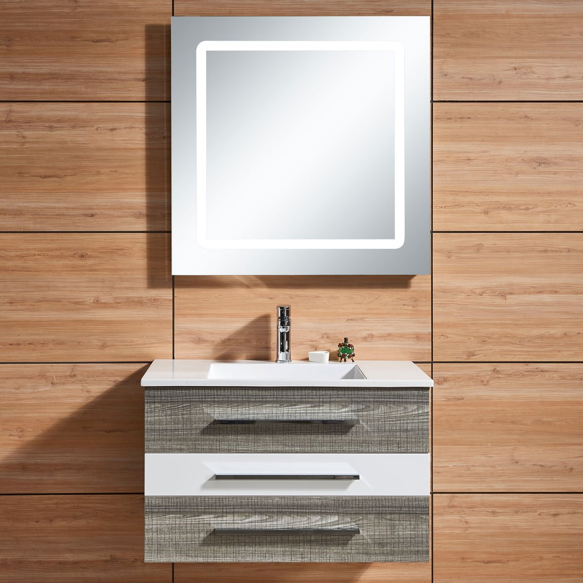 Decoraport 31 In. Wall Mount Bathroom Vanity Set with Single Sink and LED Mirror (DK-669800)