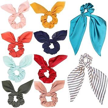12Pcs Hair Elastics Scrunchies Chiffon Hair Scrunchies Ponytail Holder Bobbles Soft Elegant Elastic Hair Bands Hair Ties