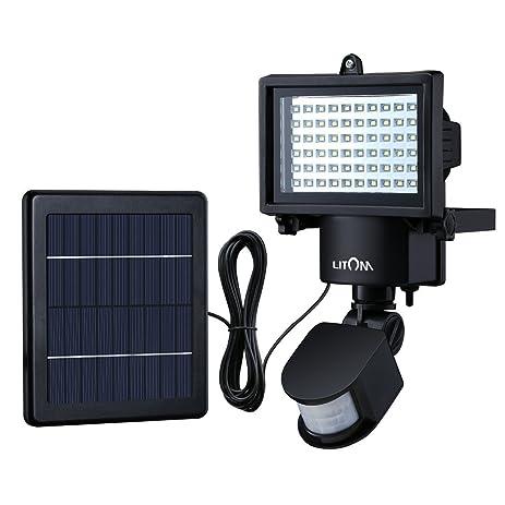 Litom Bright 60 LED Solar Lights Outdoor Solar Security Lights With Motion  Sensor Solar Flood Lights