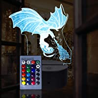 3D Ice Dragon Night Light para niños 3D
