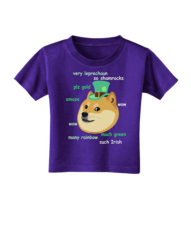 TooLoud St Patricks Day Leprechaun Doge Toddler T-Shirt Dark